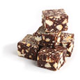 Cubes of chocolate salami