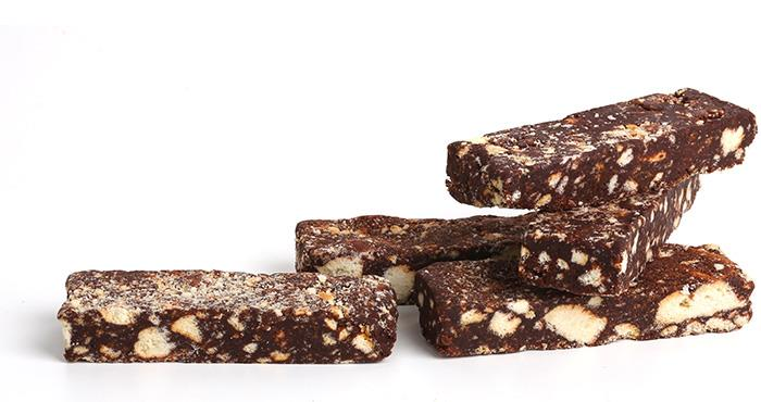 Bars of chocolate salami